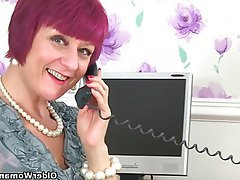 British Mature MILF Secretary Stockings
