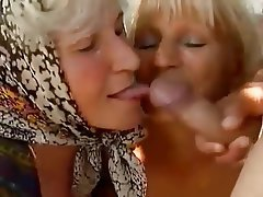 Cumshot Granny Mature Old and Young Threesome