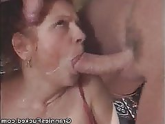 Blowjob Cumshot Granny Mature Threesome