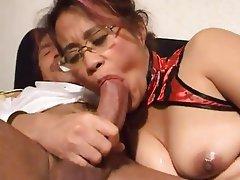 Asian Mature MILF Threesome