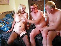 Amateur Bisexual Granny Mature Threesome